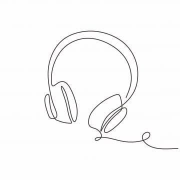 pngtree one continuous line drawing headphones - دانلود ریمیکس منمو هدفونم می خوام فقط چت کنم